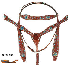 TAN TOOLED LEATHER WESTERN HORSE BRIDLE BREAST COLLAR TACK SET TURQUOISE