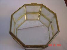 Vintage Glass Octagon Etched Jewelry Trinket Box/Taiwan