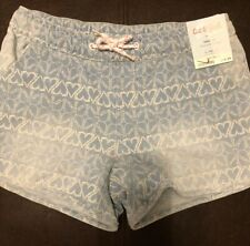 NWT Cat & Jack Girl's Stretchy Drawstring Shorts,  Stretch, Soft Blue, L (10/12)