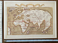 Historic Antique Old Vintage Picture MAP 1500's 1522 The World Reprint 16th cent