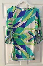 Trina Turk Swim Cover Up Sz XS Ocean Multi Geo Print Beach Tunic Dress TT5FT50