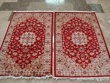Awesome Love Floral Hand Knotted Oriental Rug Wool Silk Carpet Pair (4 x 2.7)'