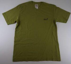 Jack Wolfskin T-Shirt Gr.L grün uni V-Ausschnitt -573