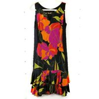 Joseph Ribkoff Tropical Floral Dress Tiered Ruffle Cocktail Dancing Sheath Sz 10