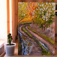 50x35 cm ORIGINAL Hand-made Oil Canvas Landscape Painting, After rain Plein air