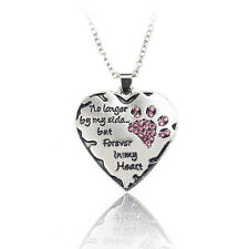 Xmas Love Wedding Crystal Cat Dog Pet Paws Claw Footprint Heart Pendant Necklace