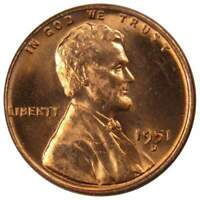 1951 D Lincoln Wheat Cent BU Uncirculated Mint State Bronze Penny 1c Coin