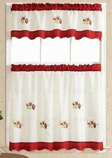 Brighter & Softer. 3pcs kitchen curtain / cafe curtain set. Burgundy fruts combo