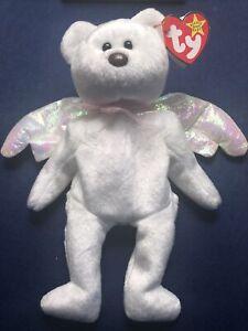 😇🧸Retired TY HALO the Angel Bear Beanie Baby Very Rare 🧸tag errors 1998  😇😇