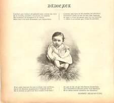 Poème d'Ernest Beauguitte rédacteur en chef Presse Dédicace Enfant GRAVURE 1902
