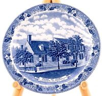 "HOME OF MARY WASHINGTON PLATE BLUE TRANSFERWARE STAFFORDSHIRE 7"" JONROTH"