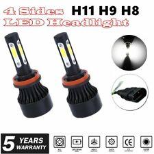 4-Side H11 LED Headlight Bulbs H8 H9 Kits 2800W 280000LM Power 6000K White BLACK