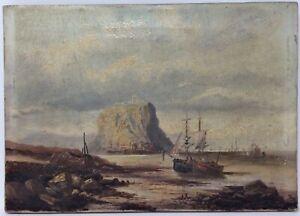 "19th century British coast oil on canvas painting. 10"" x 14"". #PA00017"