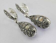 MARCASITE PEARL EARRINGS 925 STERLING SILVER ARTISAN JEWELRY COLLECTION R677A