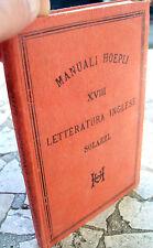 1879 MANUAL HOEPLI 'LETTERATURA INGLÉS' PRIMERA EDICIÓN. POR ENRIQUE SALAZAR