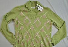 women's Liz Claiborne size large v-neck green long sleeve cotton collar pull ove