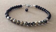 DALMATIAN JASPER+Black Onyx, Sterling Silver, Beaded Friendship Bracelet