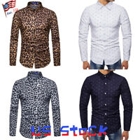 Men Shirts Leopard Snakeskin Print Navy Collar Tops Casual Dress Blouse Slim US