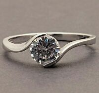 Silver Plated Steel Cubic Zirconia Womens Girls Engagement Solitaire New Ring