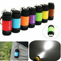 Outdoor Mini Pocket Keychain Torch USB Rechargeable LED Light Flashlight Lamp