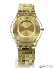 New Swiss Swatch Skin Classic GENEROSITY Gold Mesh Watch 34mm SFK355M $135