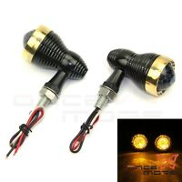 Brass Bezel 10mm LED Turn Signal Indicator Light For Harley Cafe Racer Chopper