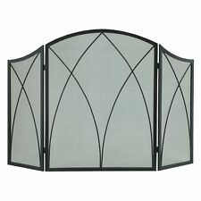 Pleasant Hearth Fireplace Screen Arched 3 Panel Heavy Duty Black Finish Steel