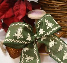 Christmas Luxury Wired Edge Green Fair Isle Ribbon * 63mm wide * ByThe Metre