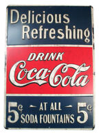 Coca-Cola Red White and Blue Tin Sign Delicious and Refreshing - BRAND NEW