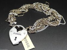 Fossil Luv Story Necklace Multi Tone Chains Signature Heart Lock New! NWT