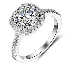 18k White Gold Filled Silver Base Made with Swarovski Crystal Wedding Ring 7 R64