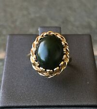 Oval Jadeite Jade Statement Ring, Cocktail Ring, Estate, 14k Yellow Gold YG