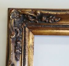 Picture Frame 11x14 Vintage Antique Style Baroque Gold Ornate Linen W Glass 139g Picture Frames