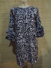 White Black Frill sleeve KAFTAN smock HIPPY boho Dress One size (8-12 best)