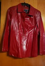 Venezia Jeans Clothing Co Red Leather Jacket preowned  size 14/16