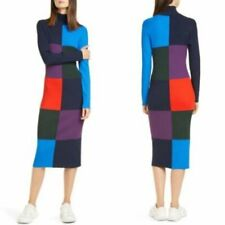 Tory Burch Sport Color block Ribbed Sweater Dress Midi Length Size Small