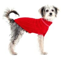 Fashion Pet Warm Red Cable Knit Dog Sweater in sizes XX-Small to XX-Large