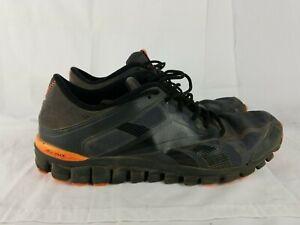 Men's Reebok RealFlex Black Tennis Shoes with Neon Orange Accents Size 13