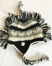 H119 Hand Knitted Mohawk Woolen Hat Cap with Fleece Lining Adult Made In Nepal
