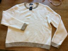 Marks & Spencer Size 20 Cream Jumper Thick WARM sparkly Neckline NEW+TAGS