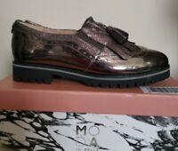 Moda In Pelle Gemmia Pewter Metallic Leather Loafers, Size 6/39, Pewter, BNIB