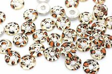Golden Leopard Pattern Acrylic Sew On Buttons Animal Print Fashion 15mm 20pcs