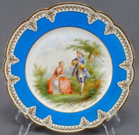 Sevres Style Georgian Courting Couple Celeste Blue & Gold Plate C. 1905