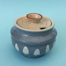 VINTAGE AUSTRALIAN STUDIO POTTERY PHYL DUNN (1915-1999) Small Blue Sugar Bowl