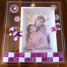 Sister Glass Photo Frame - Hand Painted - Sisters are Forever Friends Gift