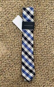 Boys Tommy Hilfiger Untied Neck Tie Blue Black Plaid 100% Polyester
