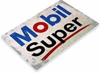 Mobil Gasoline Motor Oil Pump Auto Mechanic Station Shop Rustic Retro Metal Sign