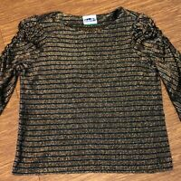 VTG Vintage Jackie O! Black and Gold Metallic Blouse w Ruffled Shoulders Size 13