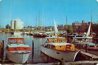 MI Benton Harbor YACHT BASIN & CLUB c1960s Chris Craft Yacht 6x9 postcard
