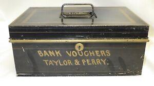 Vintage BANK VOUCHERS TAYLOR & PERRY Black Metal Lock Box Tin Cash - NO key